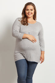 Grey Basic 3/4 Sleeve Plus Size Maternity Top