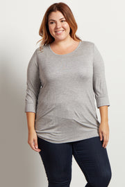 Grey Basic 3/4 Sleeve Plus Size Top