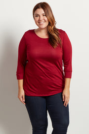 Burgundy Basic 3/4 Sleeve Plus Size Top