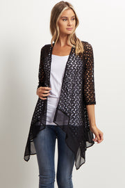 Black Open Knit Chiffon Trim Cardigan