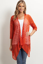 Rust Open Knit Chiffon Trim Maternity Cardigan