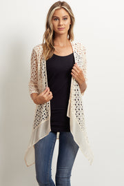 Ivory Open Knit Chiffon Trim Cardigan