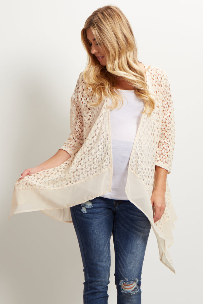 Ivory Open Knit Chiffon Trim Maternity Cardigan