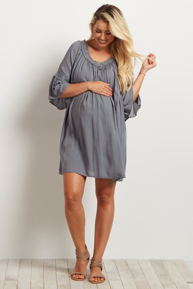 Grey Crochet Detail Bohemian Maternity Dress