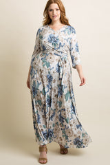Ivory Floral Sash Tie Plus Maxi Dress