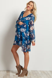 Blue Floral Printed V Neck Chiffon Maternity Dress