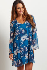 Blue Floral Printed V Neck Chiffon Dress