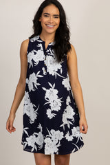 PinkBlush Navy Floral Button Front Maternity Dress