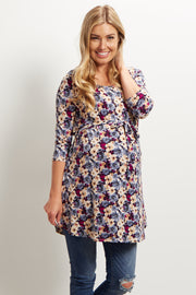 Purple Floral Sash Tie 3/4 Sleeve Maternity Top