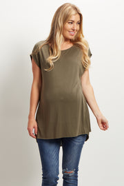 Olive Green Short Sleeve Maternity Top