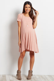 Dusty Coral Short Sleeve Cross Back Maternity Dress
