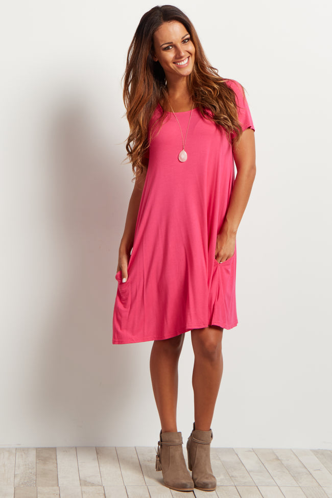 Pink Short Sleeve Cross Back Maternity Dress
