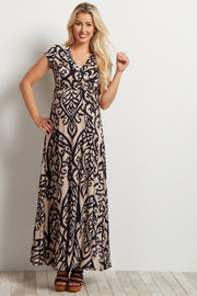 Beige Abstract Short Sleeve Maternity Maxi Dress