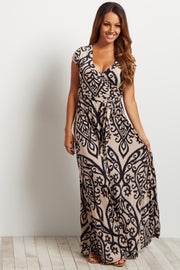 Beige Abstract Short Sleeve Maxi Dress