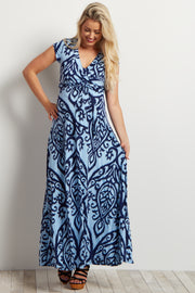 Light Blue Abstract Short Sleeve Maternity Maxi Dress