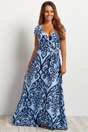 Light Blue Abstract Short Sleeve Maxi Dress