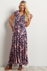 Light Pink Abstract Short Sleeve Maternity Maxi Dress