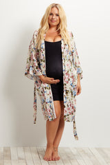 Ivory Floral Delivery/Nursing Maternity Plus Robe