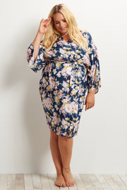 Navy Blue Floral Delivery/Nursing Maternity Plus Size Dressing Robe