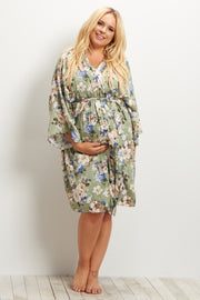 Green Floral Delivery/Nursing Maternity Plus Dressing Robe