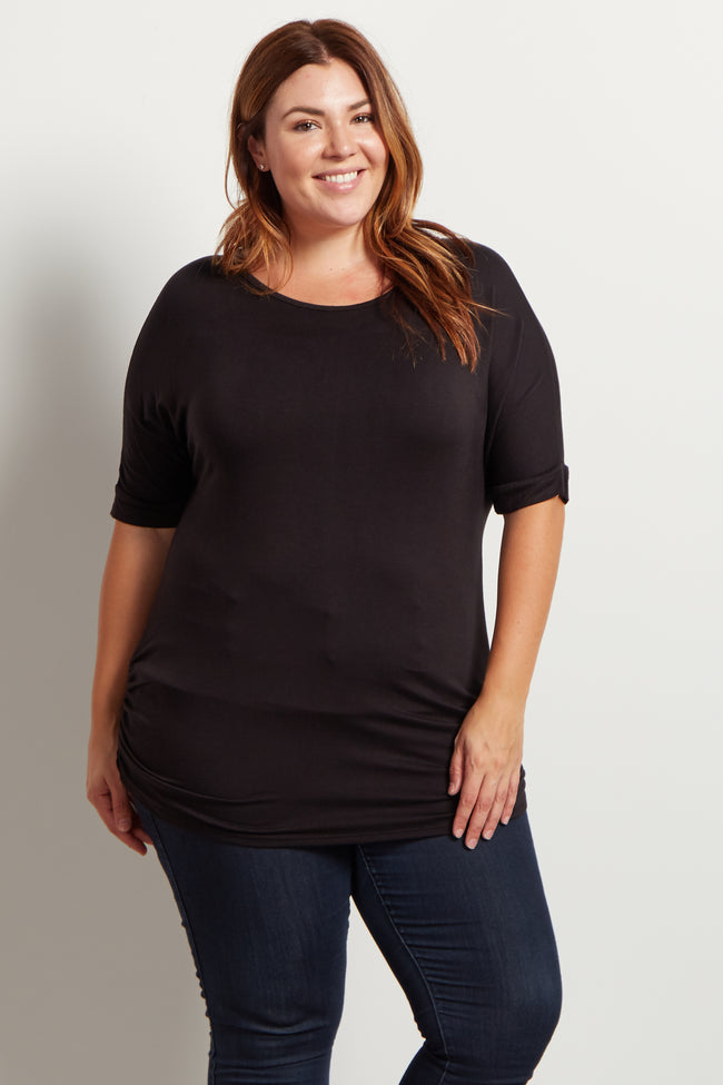 Black Basic 3/4 Dolman Sleeve Plus Size Maternity Top