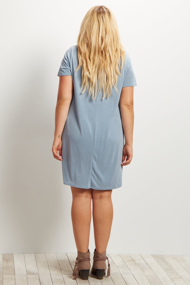Blue Lace-Up Front Short Sleeve Maternity Plus Size Dress