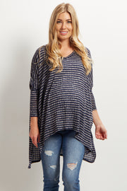Navy Striped V-Neck Long Dolman Sleeved Maternity Top