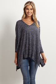 Navy Blue Striped V-Neck Long Dolman Sleeved Top