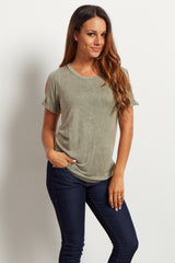 Light Olive Cold Shoulder Short Sleeve Top