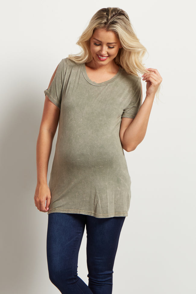 Light Olive Cold Shoulder Short Sleeve Maternity Top