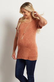 Rust Cold Shoulder Short Sleeve Maternity Top
