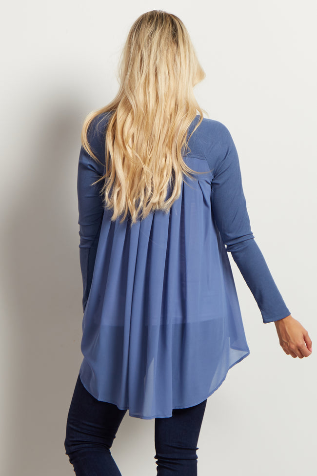 Blue Chiffon Back Ribbed Maternity Top