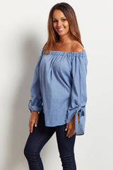 Blue Off Shoulder Chambray Top