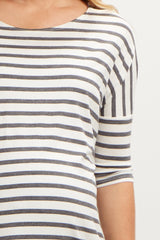 Charcoal Grey Striped Dolman Sleeve Maternity Top