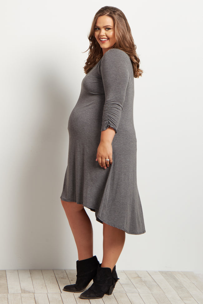 Charcoal Grey Basic Ruched Sleeve Hi-Low Plus Size Maternity Dress