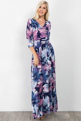 Purple Floral Draped 3/4 Sleeve Maxi Dress