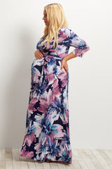 Purple Floral Draped 3/4 Sleeve Plus Maternity Maxi Dress