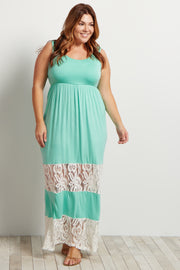 Mint Green Lace Colorblock Plus Size Maxi Dress