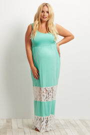 Mint Green Lace Colorblock Maternity Plus Size Maxi Dress