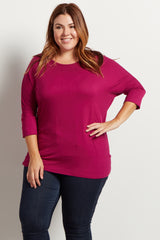 Magenta Braided Accent 3/4 Sleeve Maternity Plus Size Top