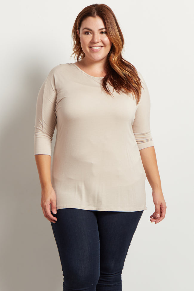 Taupe Braided Accent 3/4 Sleeve Plus Size Top