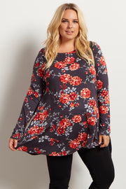Charcoal Grey Floral Print Long Sleeve Plus Maternity Top