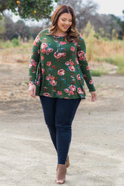 Olive Green Floral Print Long Sleeve Plus Top