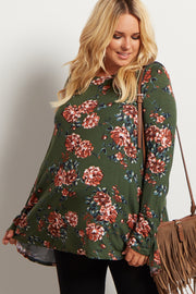 Olive Green Floral Print Long Sleeve Plus Maternity Top