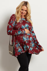 Burgundy Floral Print Long Sleeve Plus Maternity Top