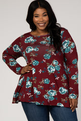 Burgundy Floral Print Long Sleeve Plus Top