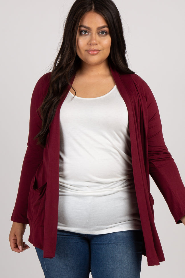 PinkBlush Burgundy Front Pocket Maternity Plus Cardigan