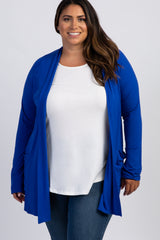 Royal Blue Front Pocket Maternity Plus Cardigan