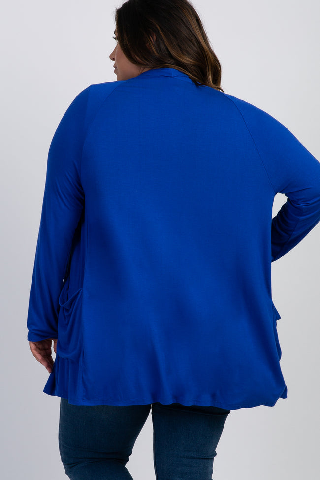 Royal Blue Front Pocket Plus Cardigan