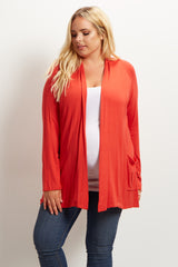Rust Front Pocket Maternity Plus Cardigan